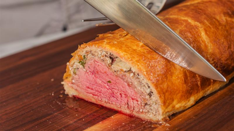 A meaty, spicy Rhône red complements the intense flavors of the Wellington.