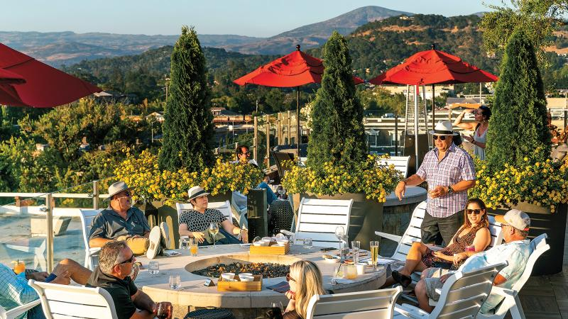 Located on the rooftop of Napa's new Archer hotel, Sky & Vine is a casual spot for a snack and a glass of wine.