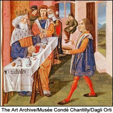 Image of a king's meal, from the 15th-century French manuscript Le Livre des Bonnes Moeurs (Book of Good Manners) by Jacques le Grant.