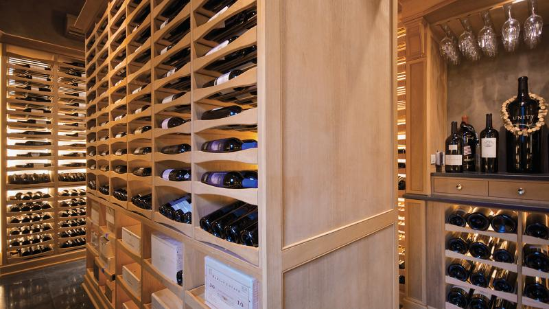 The Boneys designed their pool-house cellar to maximize bottle capacity.