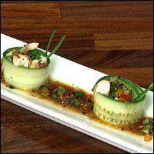 Cucumber Rolls with Shrimp Ceviche and Spicy Oriental-style Dip Sauce