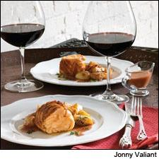 Salmon has body enough for Pinot Noir, even a New World bottling, and a sauce from the wine and earthy turnips underscore the match.