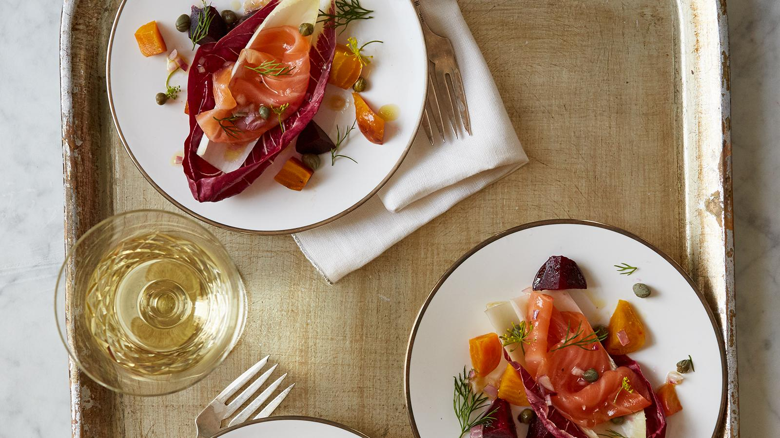 Smoked Salmon with Radicchio, Endives and Dill