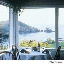Dining at the Albion River Inn is worth the view alone, as the restaurant overlooks the Pacific coastline.