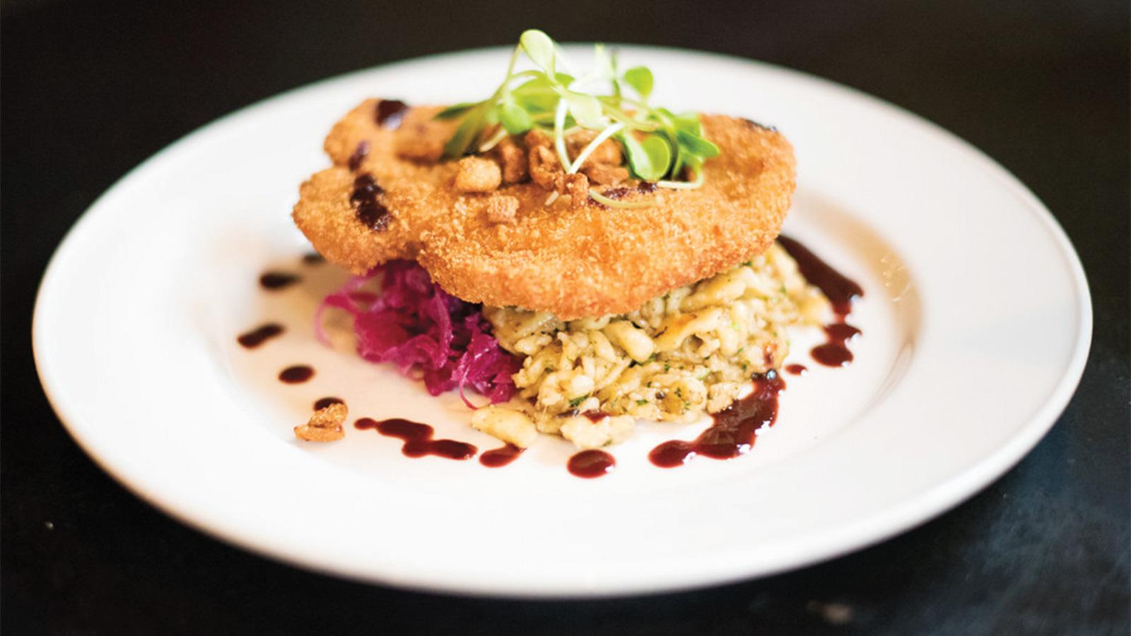 """Otto's duck schnitzel on a bed of spaetzle"""
