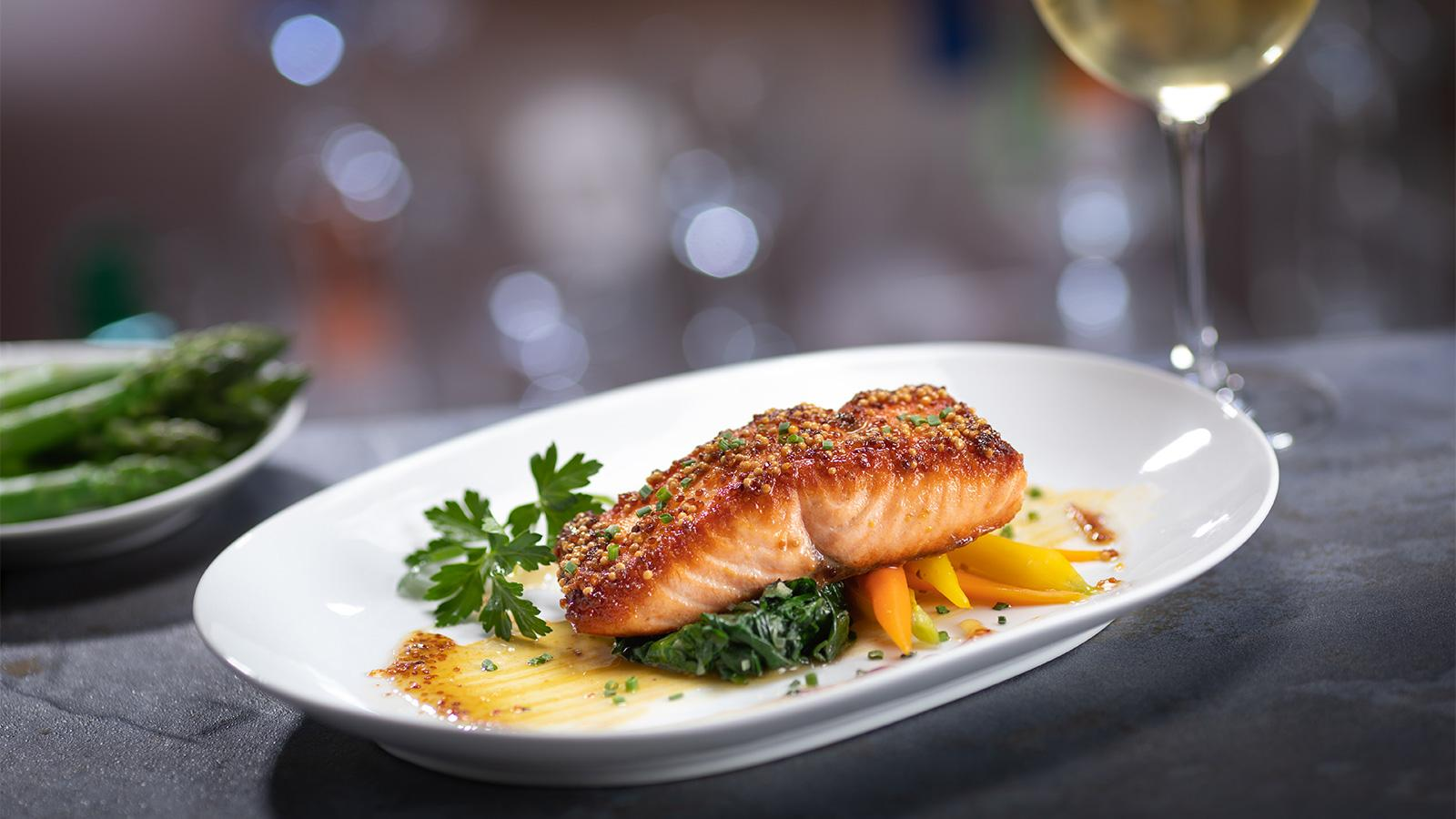 Mustard-glazed salmon at Eddie V's