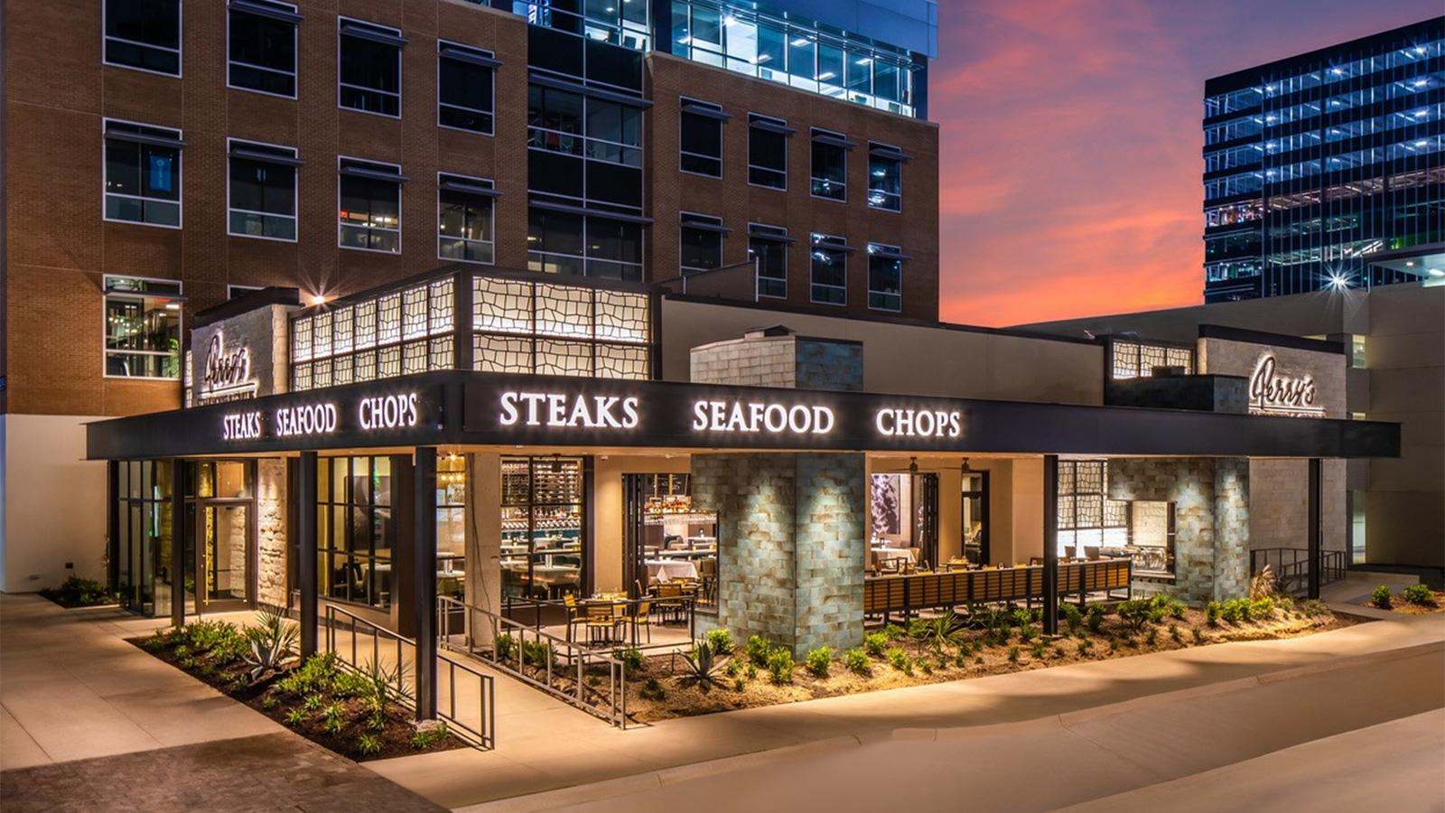 The exterior of Perry's Steakhouse & Grille in Austin