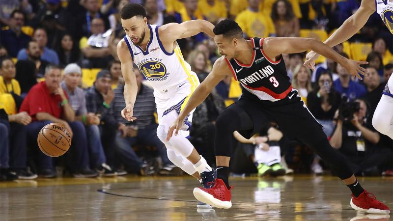 The teams from California and Oregon contest a loose ball, optimal levels of Brix and phenolic maturity in Pinot Noir at harvest. (Pictured: Steph Curry and CJ McCollum)
