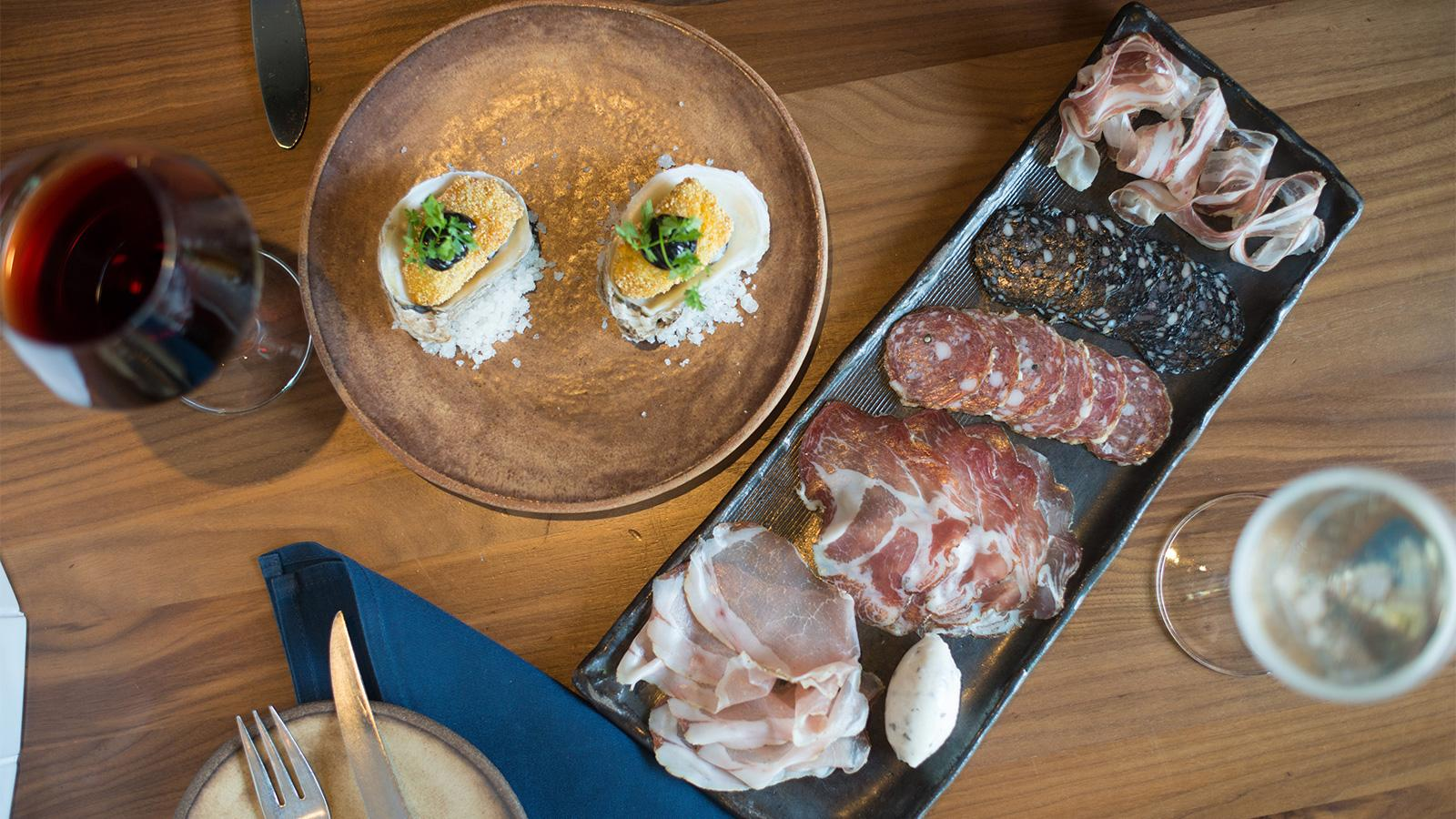 Charcuterie, oysters and wine at Pausa