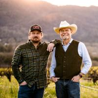 Morgan Twain-Peterson and his father, Joel Peterson, in Bedrock Vineyard