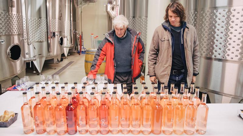 Philippe and Charles Bieler contemplate this year's rosés.