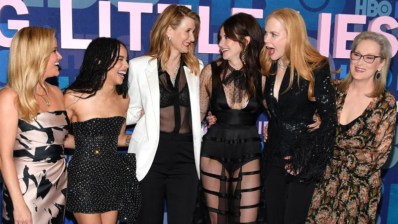 Vintrigue! The Monterey Five Plus One, left to right: Reese Witherspoon, Zoë Kravitz, Laura Dern, Shailene Woodley, Nicole Kidman and Meryl Streep
