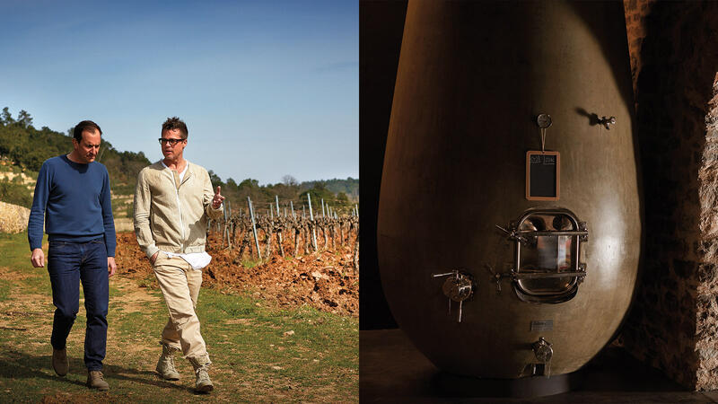 Left: Marc Perrin (blue guy) and Brad Pitt (beige guy) walk the vineyard. Right: the new egg-shaped fermentation vats where the magic happens.