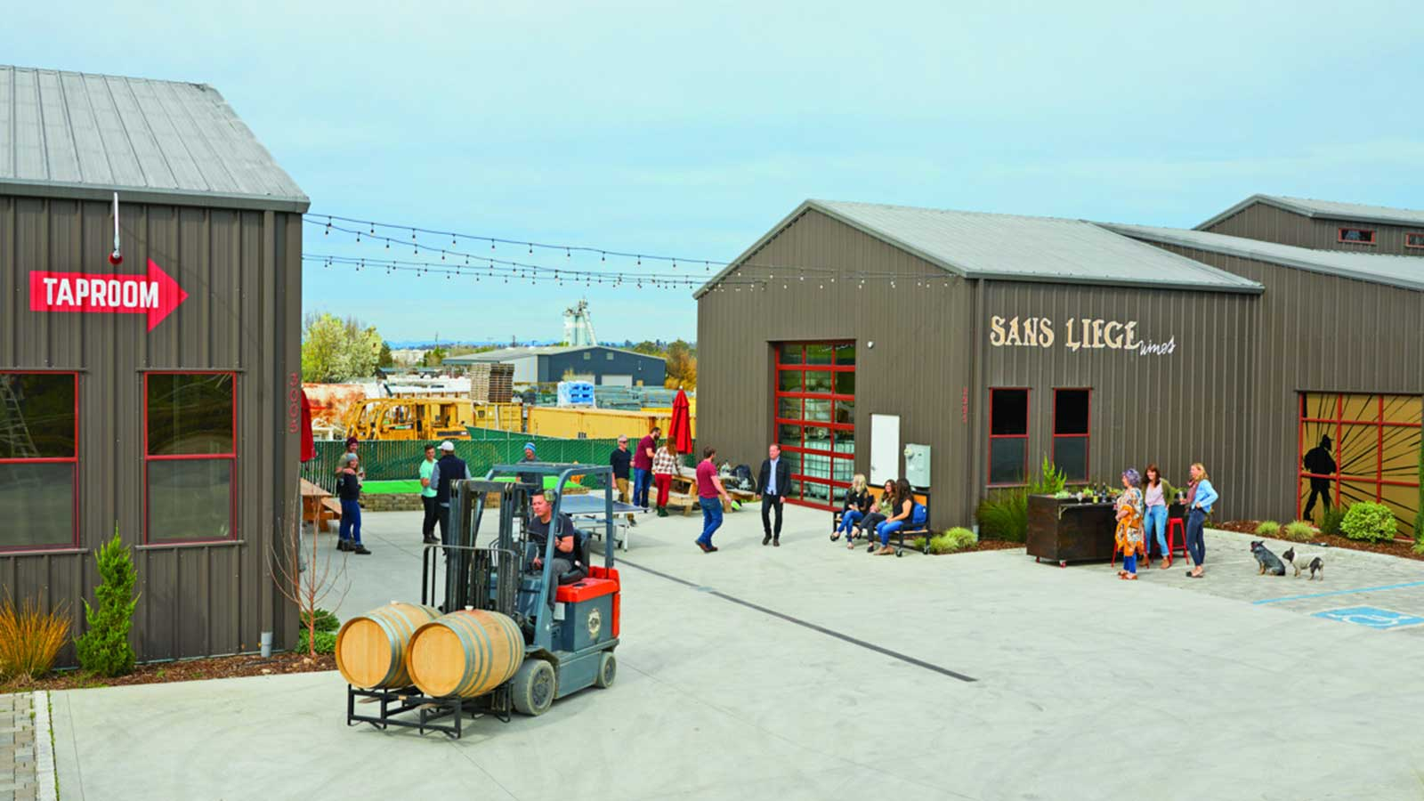 The exterior of Tin City and Sans Liège tasting room