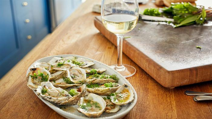 Grilled Oysters with Lemon Chile Ramp Butter