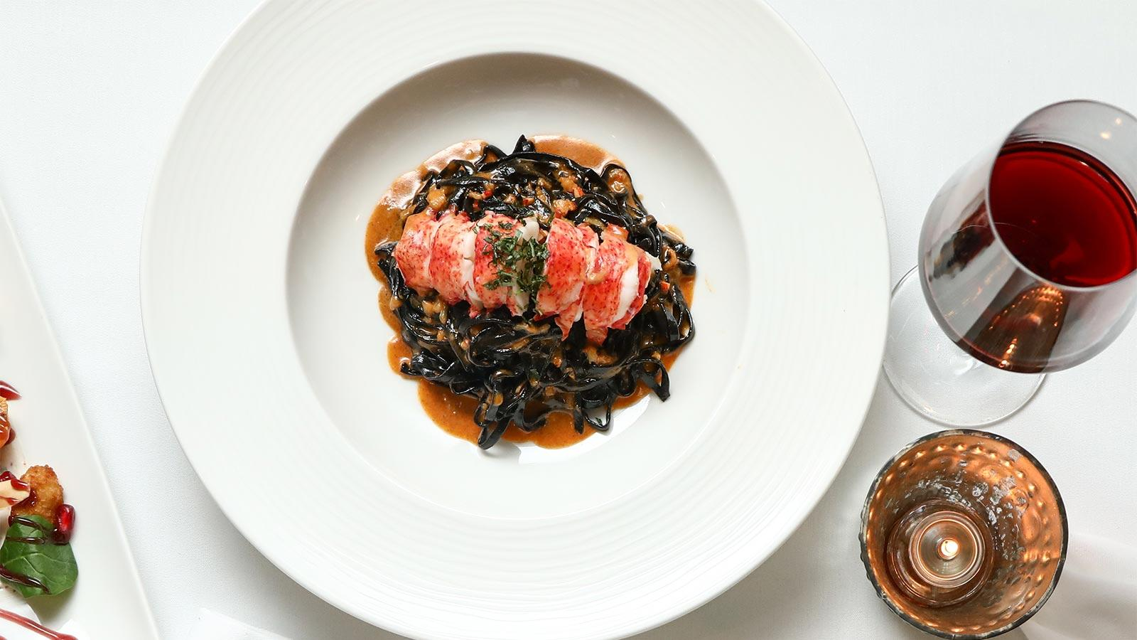 Lobster with squid-ink linguini