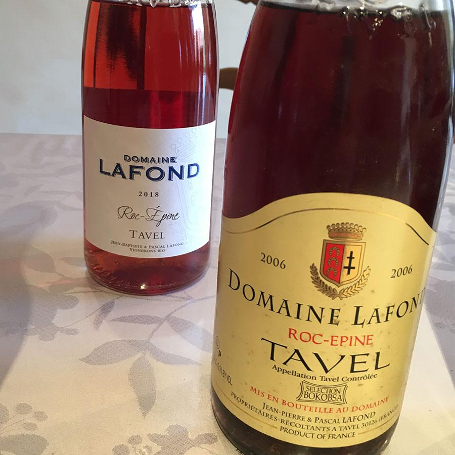 Two bottles of Tavel, one a deep pink, the other closer to ruby.