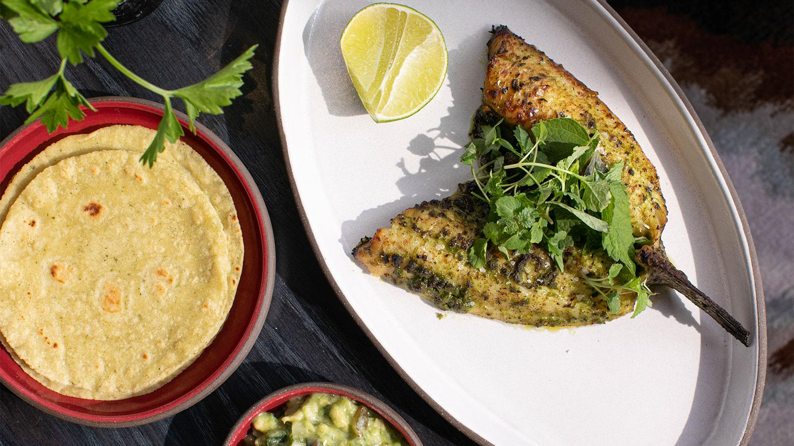 Black bass with poblano, salsa verde and fresh tortillas