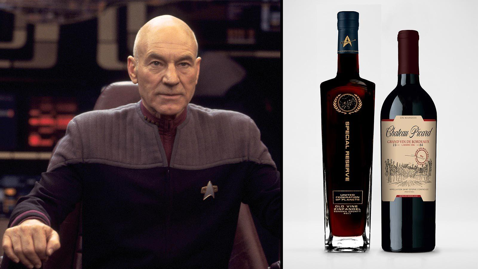 Jean-Luc Picard abd bottles of Special Reserve United Federation of Planets Zinfandel and Château Picard's Star Trek cuvée
