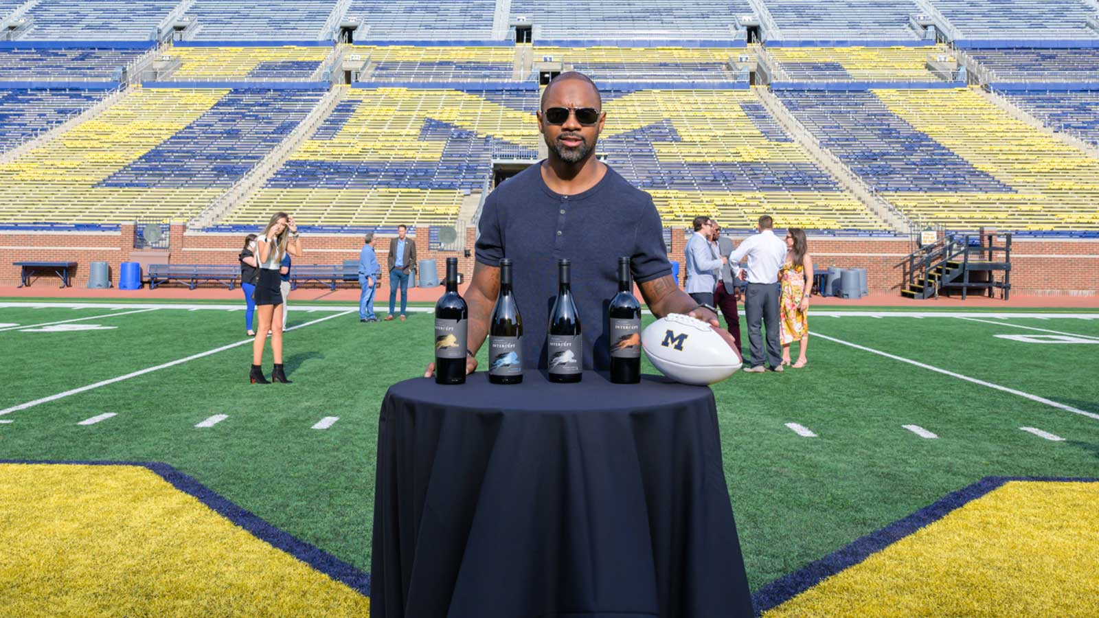 Charles Woodson with his wines