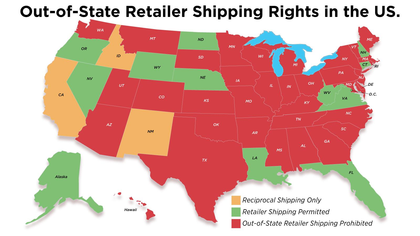 A map of the U.S. with states in red, yellow or green depending on their retailer shipping laws, which are outlined below.