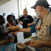 Chef José Andrés serves hungry residents of the Bahamas in the aftermath of Hurricane Dorian.