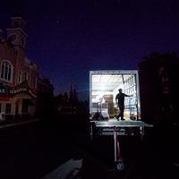 A delivery truck stops in downtown Sonoma on the first day of precautionary power outages.