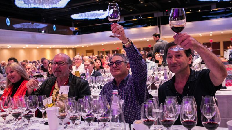 Guests raise a glass at one of the New York Wine Experience's Top 10 Wines seminars.