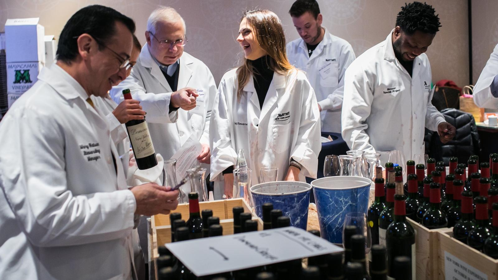 Sommeliers check wines for the Wine Experience