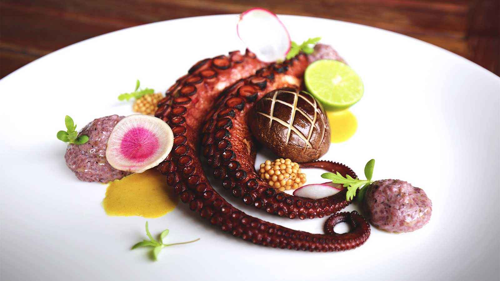 An octopus dish at the Overlook at Great Waters