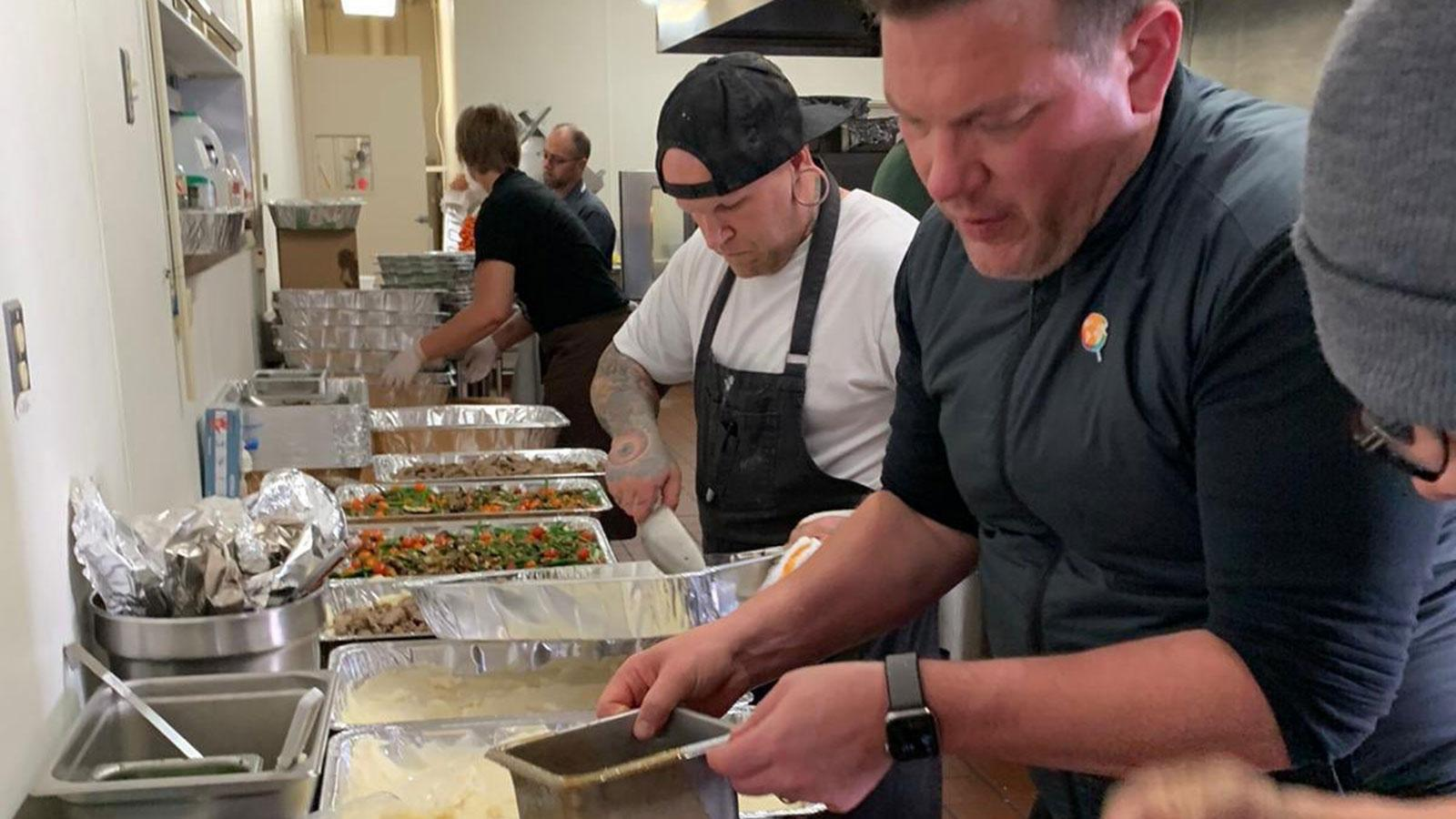 Tyler Florence cooking for fire relief