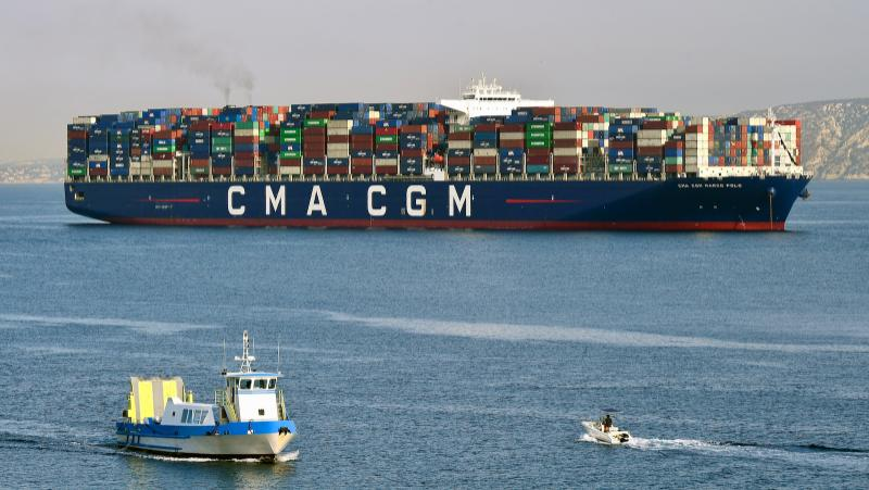 A French container ship heads into port. Many wineries had products heading to America when the tariffs were announced.