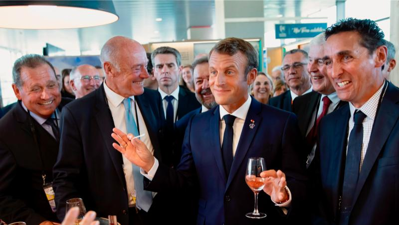 French President Emmanuel Macron sampled local wine when he visited southwest France for the G7 summit in August.