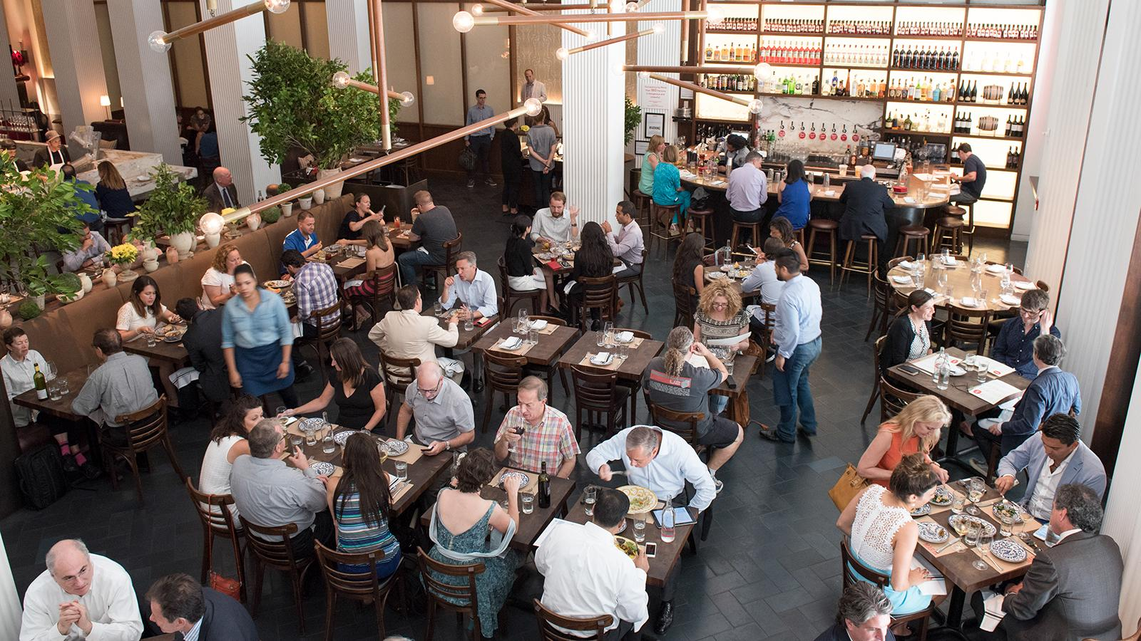 Overhead view of guests dining