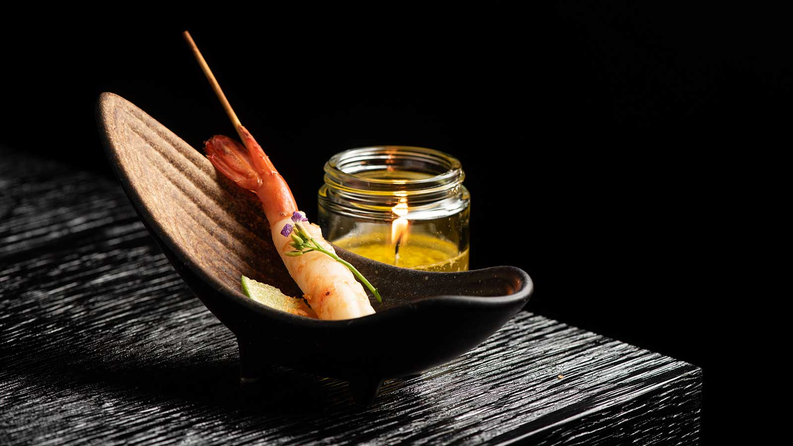 Spot prawn with lemongrass-garlic butter