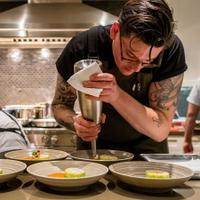 Chef Brian Young makes a palate palette in the KB kitchen.