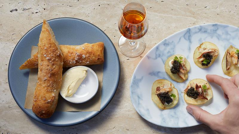 Caviar is on the seasonal menu at Georgie, chef Curtis Stone's first Texas restaurant.