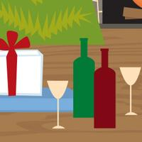 100 Top Values — holiday party scene with wine