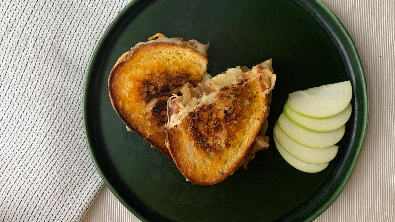 A childhood favorite, grilled cheese, gets a mature makeover into an indulgent weeknight dinner.