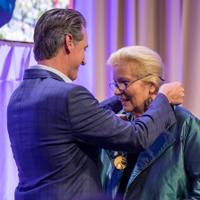 Helen Turley's remarks at the ceremony were precise and powerful, not unlike her Pinots. Gov. Newsom presented her with a medal to mark the honor.