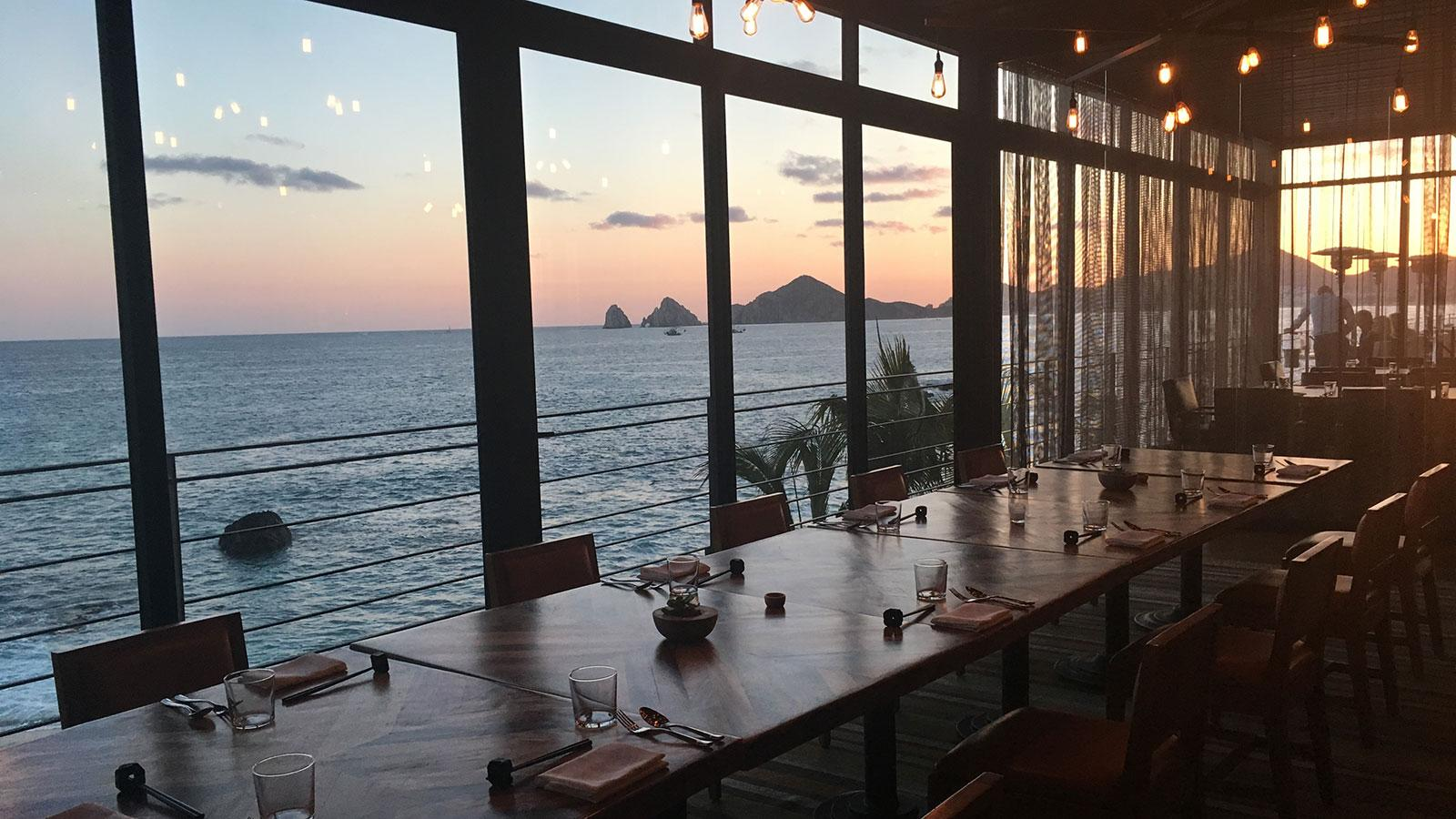 Manta's view of the ocean and mountains from the dining room