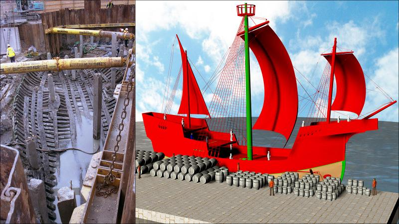 Recovering (left) and reconstructing (right) the Newport Ship. Green and brown represent components that were partially or fully recovered IRL.