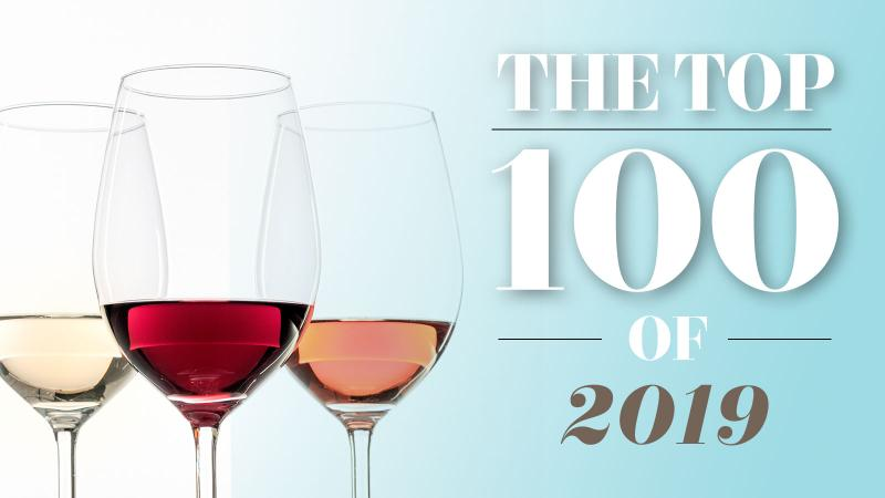 Wine Spectator's Top 100 of 2019 graphic: 3 wine glasses and text on a light blue background