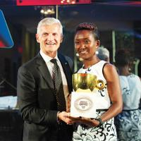 Andrea Illy and Philotée Muzika of Ngororero Coffee Washing Station in Rwanda.