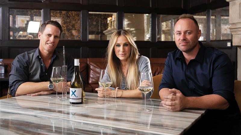 Invivo co-founders Tim Lightbourne (left) and Rob Cameron with Sarah Jessica Parker.