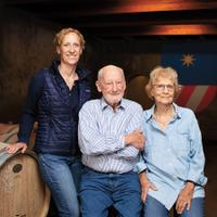 Philip Togni, 92, with his daughter Lisa (left) and wife Birgitta.