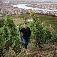 Jean-Louis Chave on the iconic hill of Hermitage, the source of his estate's flagship wine, a global benchmark for Syrah.