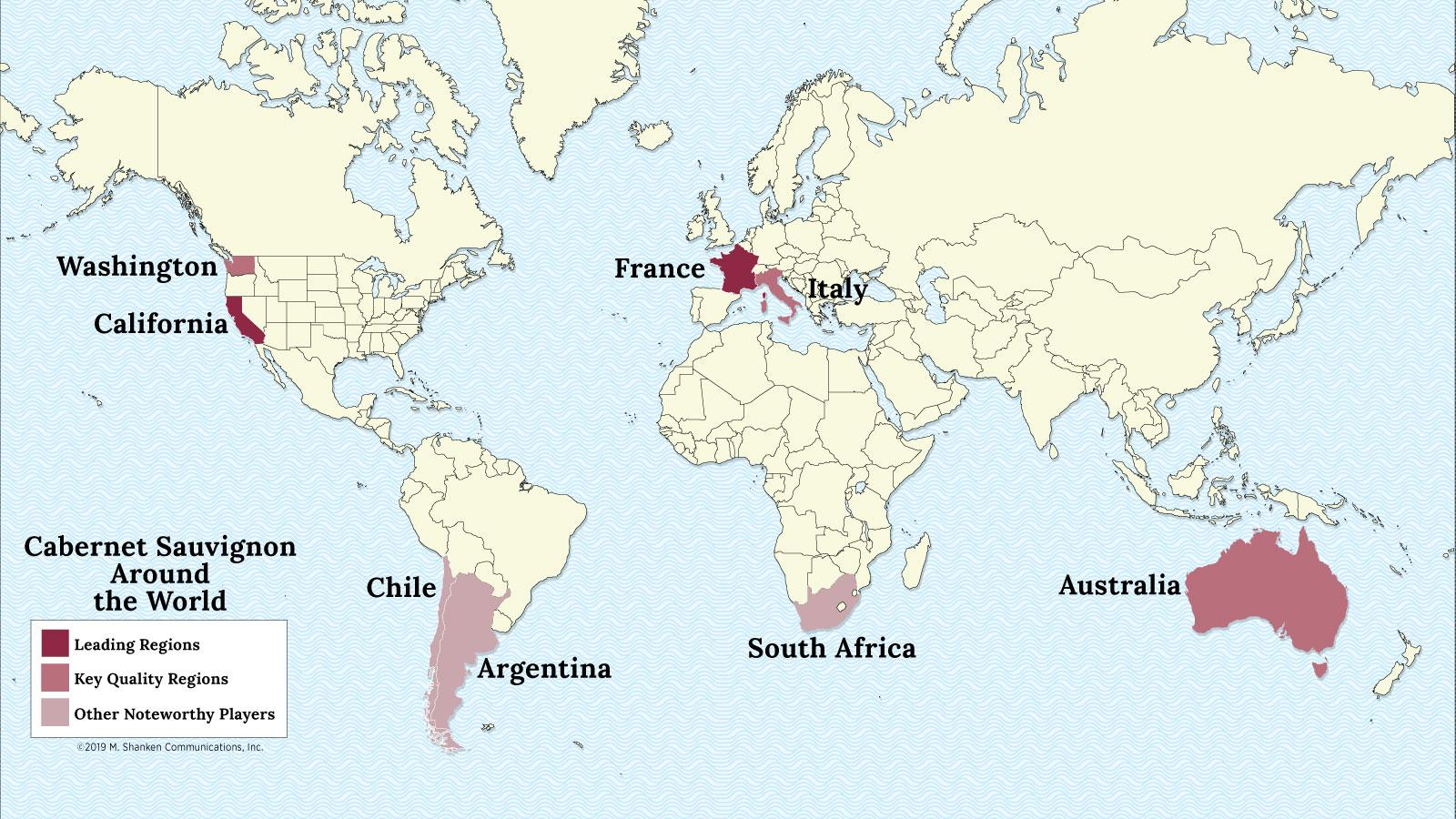 A map of the world with France, California, Italy, Australia, Washington, South Africa, Chile and Argentina highlighted