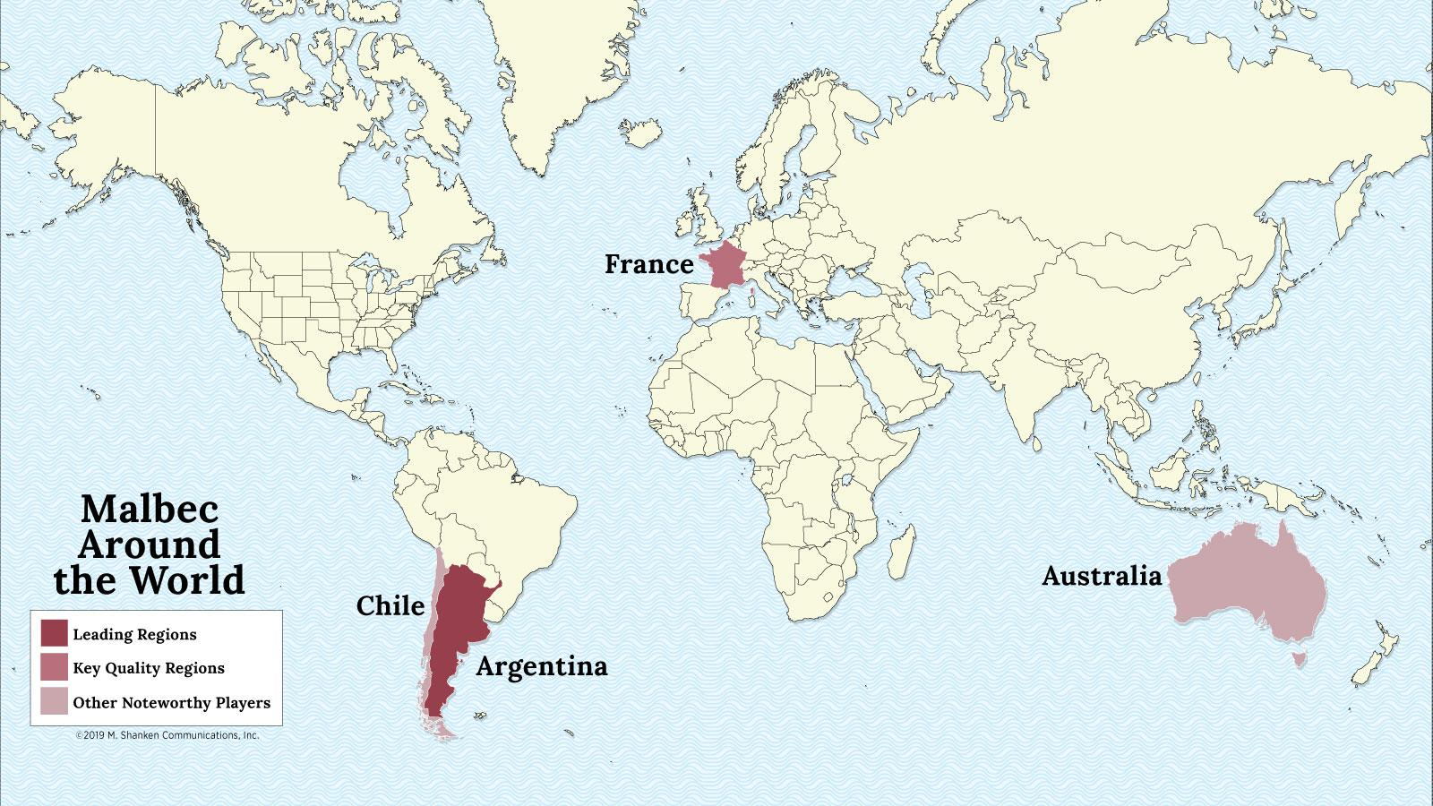 A map of the world with Argentina, France, Chile and Australia highlighted
