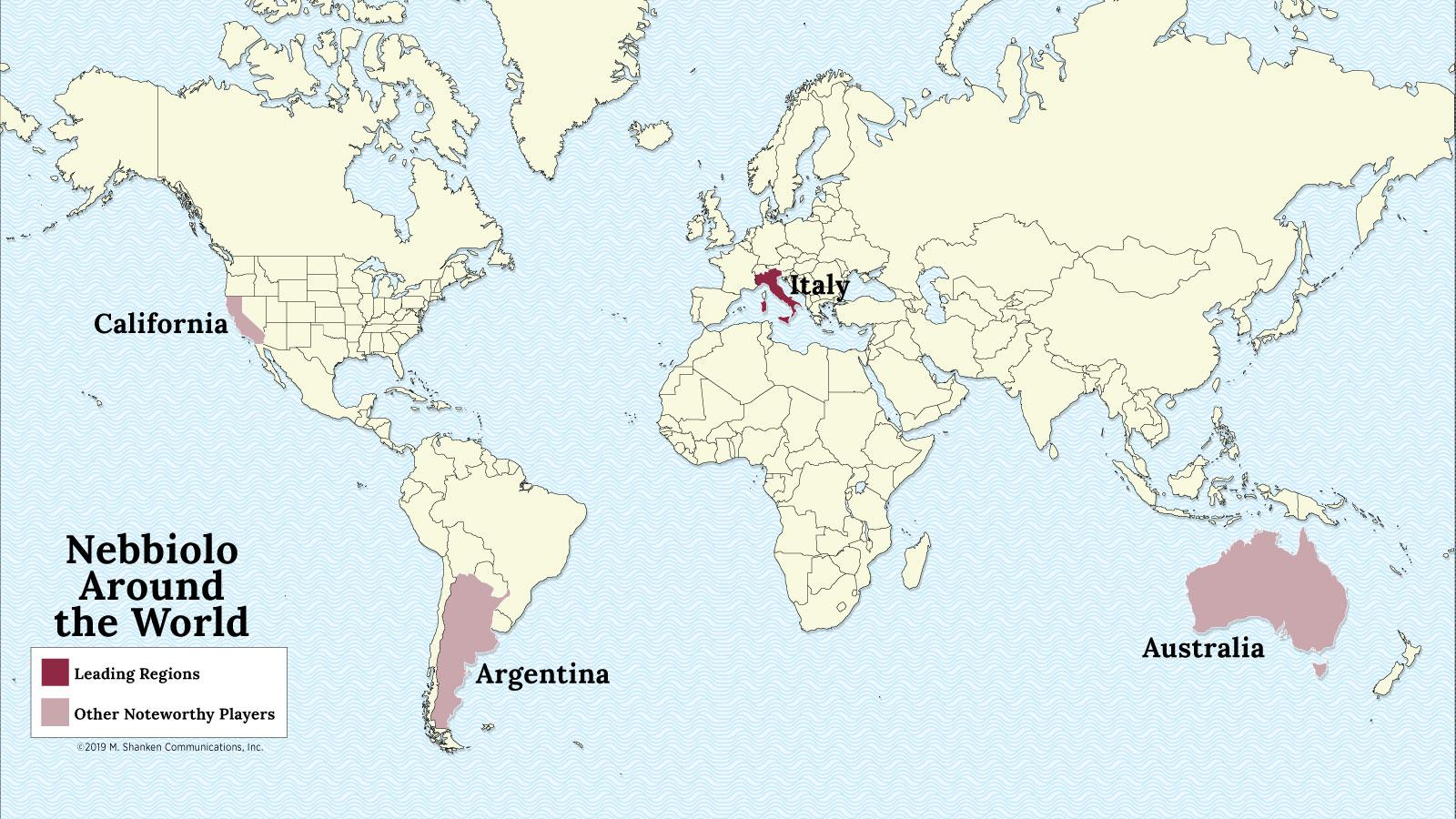 A map of the world with Italy, Australia and Argentina highlighted